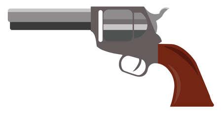 Pistol, illustration, vector on white background.