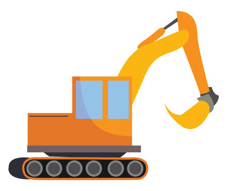 Excavator, illustration, vector on white background.