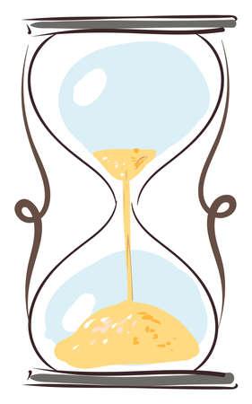 Interesting hourglass, illustration, vector on white background.