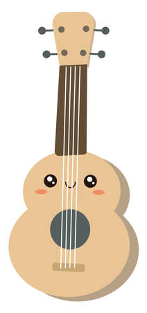 Cute guitar, illustration, vector on white background.