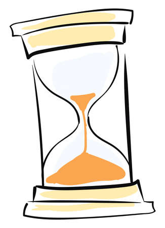 Hourglass drawing, illustration, vector on white background.