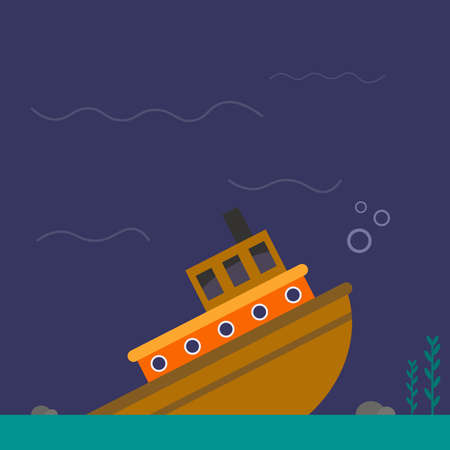Sinking ship, illustration, vector on white background.