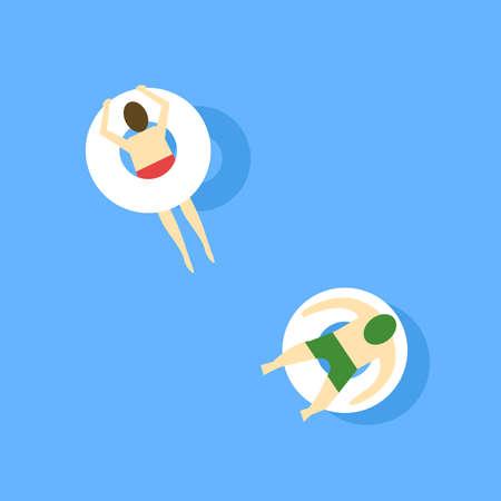 Relaxing in pool, illustration, vector on white background. Vettoriali