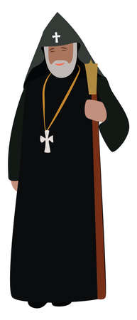 Priest, illustration, vector on white background. Vectores