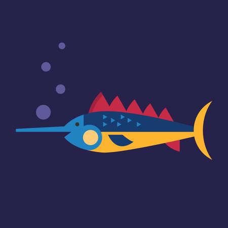 Swordfish underwater, illustration, vector on white background.