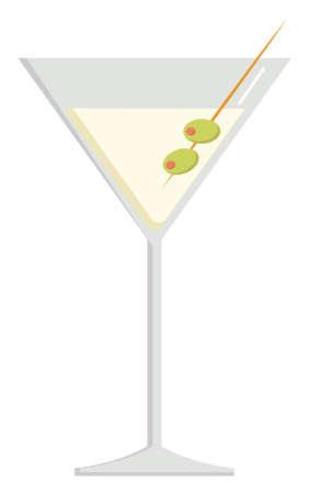Dry martini, illustration, vector on white background.