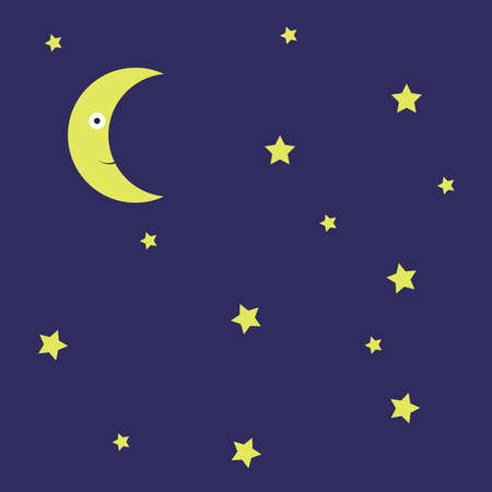 Night with stars, illustration, vector on white background.