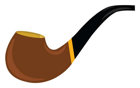 Smoking pipe, illustration, vector on white background.