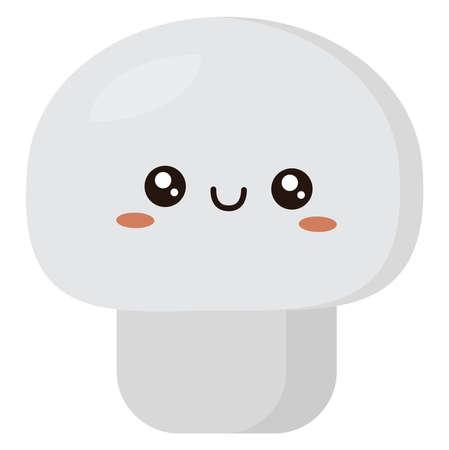 White mushroom, illustration, vector on white background.