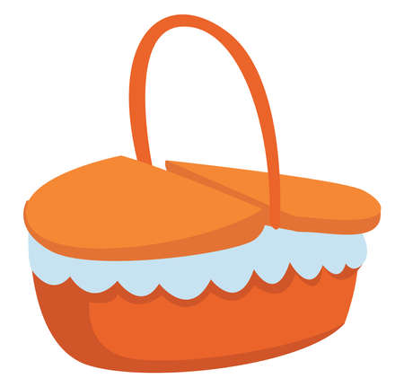 Picnic basket, illustration, vector on white background. Illusztráció
