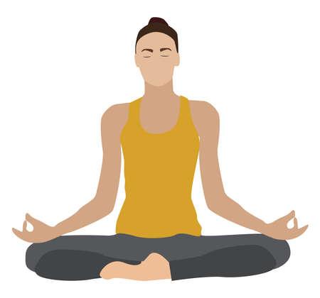 Yoga girl, illustration, vector on white background. Иллюстрация