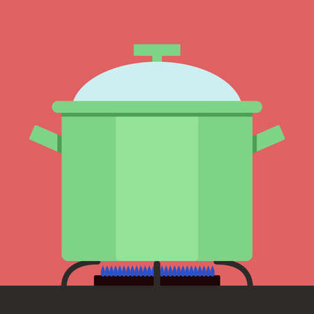 Boiling pot, illustration, vector on white background.