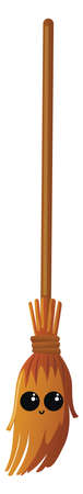 Broom, illustration, vector on white background. Ilustração