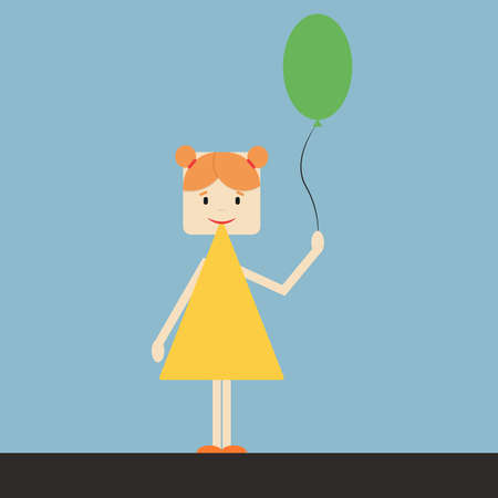 Kid with balloon, illustration, vector on white background.