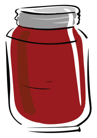Jar of jam, illustration, vector on white background.