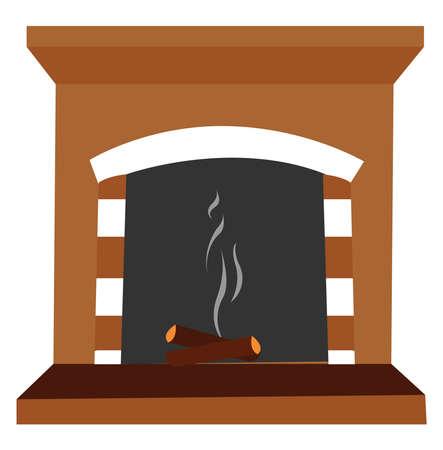 Extinct fire, illustration, vector on white background.