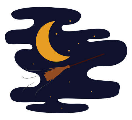 Flying broom, illustration, vector on white background. Ilustração