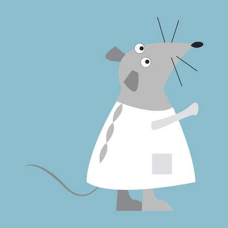 Rat in white, illustration