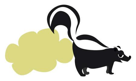 Smelly skunk, illustration, vector on white background.