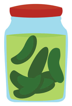 Salted cucumber, illustration, vector on white background.