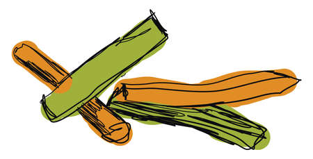 Veggie sticks, illustration, vector on white background.