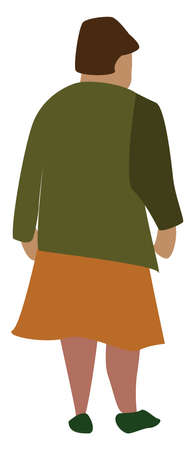Woman with orange skirt, illustration, vector on white background.