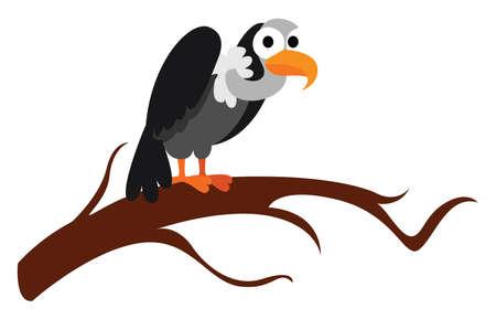 Vulture, illustration, vector on white background.