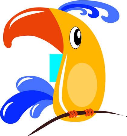 Yellow bird, illustration, vector on white background. Illustration