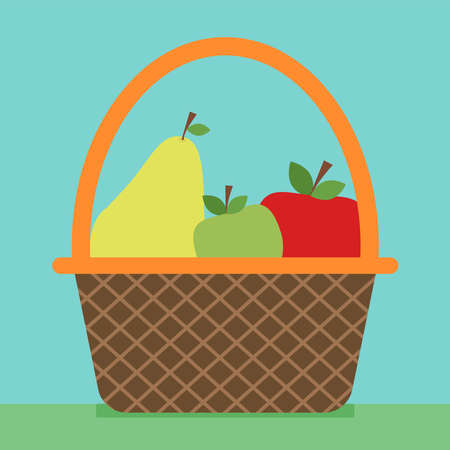Basket with fruits, illustration, vector on white background.