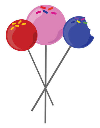 Cake pops, illustration, vector on white background.