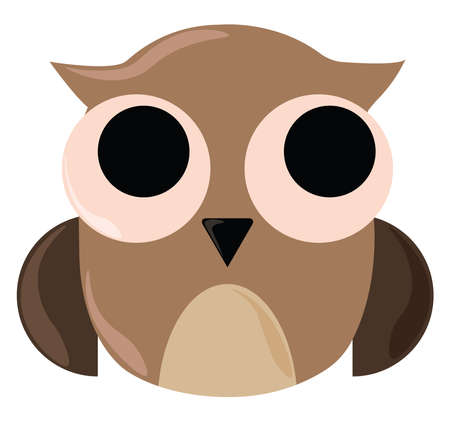 Owl with big eyes, illustration, vector on white background.