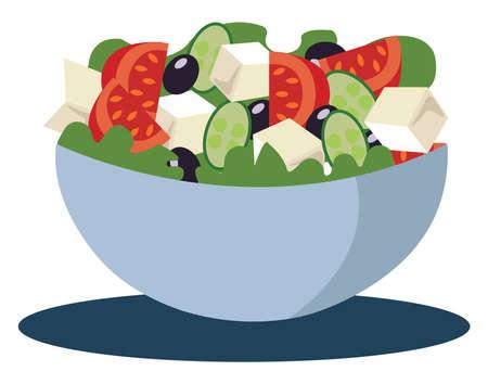 Greek salad, illustration, vector on white background.