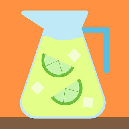 Ice juice, illustration, vector on white background.