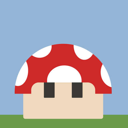 Mushroom house, illustration, vector on white background.