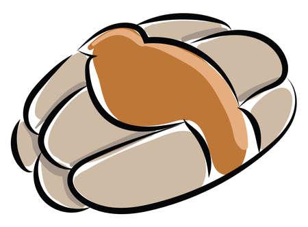 Bread flat, illustration, vector on white background.