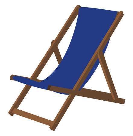 Deck chair, illustration, vector on white background.