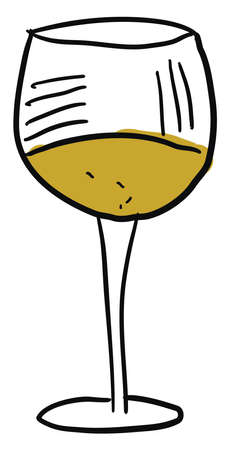 Glass of white wine, illustration, vector on white background.