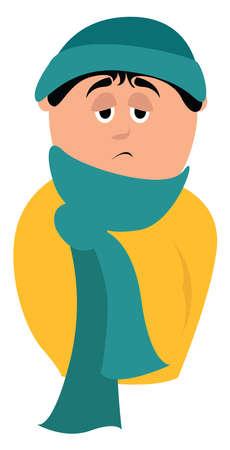 Frozen boy, illustration, vector on white background.