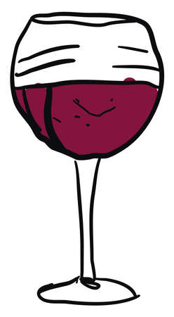 Wine glass with wine, illustration, vector on white background. 矢量图像