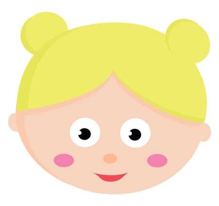 Blonde girl, illustration, vector on white background.