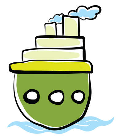 Green boat, illustration, vector on white background.