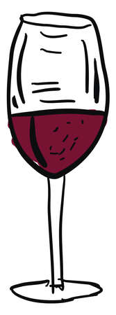 Wine in glass drawing, illustration, vector on white background.