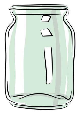 Empty jar, illustration, vector on white background.