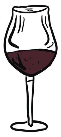 Glass of wine drawing, illustration, vector on white background.