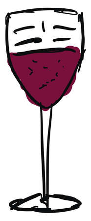 Drawing of a wine glass, illustration, vector on white background.