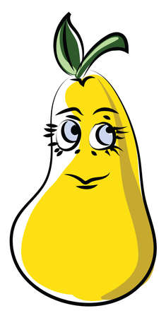 Yellow pear, illustration, vector on white background. Vetores