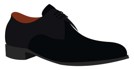 Black shoe, illustration, vector on white background. Vector Illustration