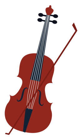 Cello, illustration, vector on white background.