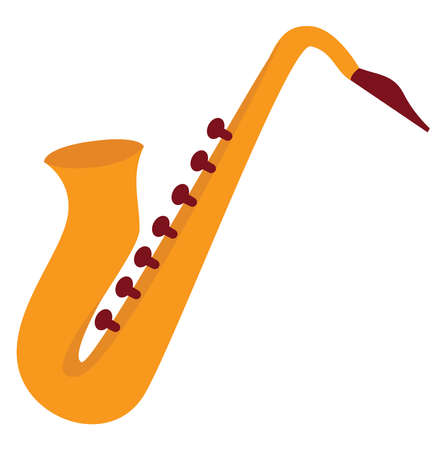 Saxophone, illustration, vector on white background. Vectores