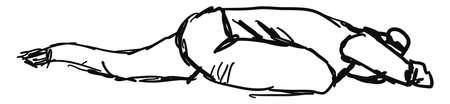 Sleeping yoga pose, illustration, vector on white background.